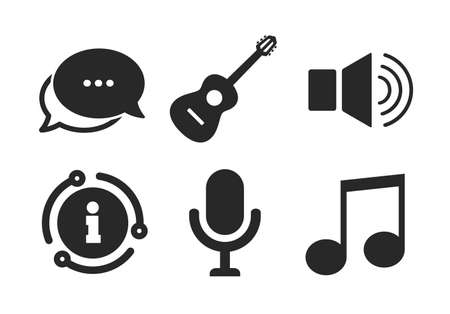Microphone and Sound speaker symbols. Chat, info sign. Musical elements icons. Music note and acoustic guitar signs. Classic style speech bubble icon. Vector