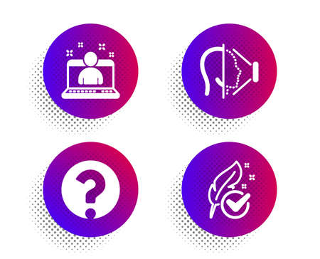 Face id, Question mark and Best manager icons simple set. Halftone dots button. Hypoallergenic tested sign. Phone scanning, Ask support, Best developer. Feather. Technology set. Vector