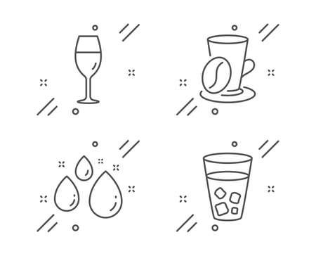 Water drop, Coffee cup and Wineglass line icons set. Ice tea sign. Aqua, Latte drink, Burgundy glass. Soda beverage. Food and drink set. Line water drop outline icon. Vector  イラスト・ベクター素材