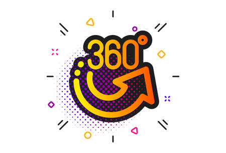 VR simulation sign. Halftone circles pattern. 360 degrees icon. Panoramic view symbol. Classic flat 360 degrees icon. Vector