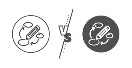 Pencil symbol. Versus concept. Keywords line icon. Marketing strategy sign. Line vs classic keywords icon. Vector