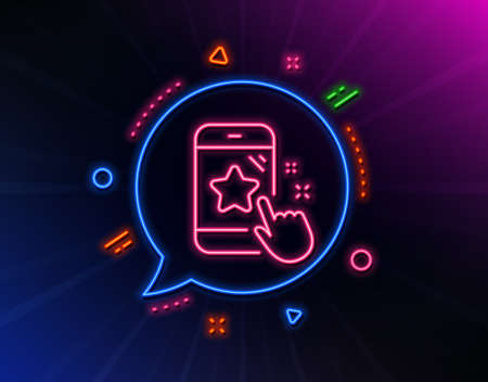 Star rating line icon. Neon laser lights. Feedback phone sign. Customer satisfaction symbol. Glow laser speech bubble. Neon lights chat bubble. Banner badge with star rating icon. Vector Ilustrace