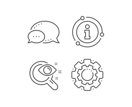 Vision test line icon. Chat bubble, info sign elements. Eyesight check sign. Oculist clinic symbol. Linear vision test outline icon. Information bubble. Vector Standard-Bild - 135005919