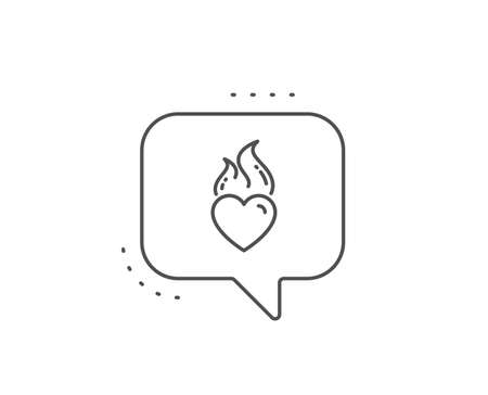 Heart flame line icon. Chat bubble design. Love fire emotion sign. Valentine day symbol. Outline concept. Thin line heart flame icon. Vector Standard-Bild - 135005610