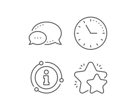 Star line icon. Chat bubble, info sign elements. Feedback rating sign. Customer satisfaction symbol. Linear star outline icon. Information bubble. Vector