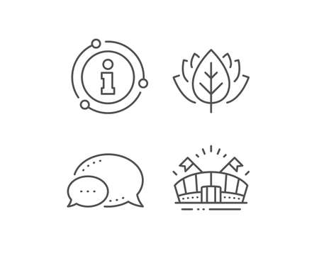 Sports arena line icon. Chat bubble, info sign elements. Stadium with flags sign. Sport complex symbol. Linear sports arena outline icon. Information bubble. Vector