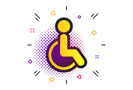 Disabled sign icon. Halftone dots pattern. Human on wheelchair symbol. Handicapped invalid sign. Classic flat invalid icon. Vector