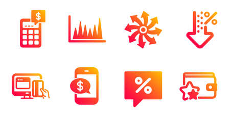 Phone payment, Calculator and Versatile line icons set. Low percent, Online payment and Line graph signs. Discount message, Loyalty program symbols. Mobile pay, Money management. Finance set. Vector