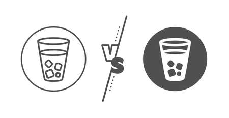 Soda drink sign. Versus concept. Ice tea line icon. Fresh cold beverage symbol. Line vs classic ice tea icon. Vector