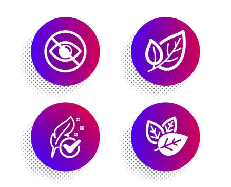 Hypoallergenic tested, Not looking and Leaf icons simple set. Halftone dots button. Organic tested sign. Feather, Eye care, Ecology. Bio ingredients. Healthcare set. Vector Illustration
