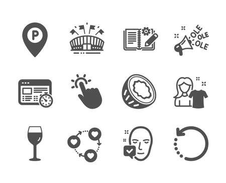 Set of Business icons, such as Face accepted, Sports arena, Web timer, Clean shirt, Recovery data, Engineering documentation, Wine glass, Ole chant, Parking, Touchpoint, Coconut. Vector Illustration