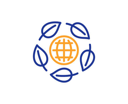 Bio cosmetics sign. Eco organic line icon. Fair trade symbol. Colorful outline concept. Blue and orange thin line eco organic icon. Vector 向量圖像