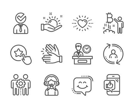 Set of People icons, such as Clapping hands, Vacancy, Support, User info, Heart, Employees teamwork, Loyalty star, Smile chat, Mobile like, Presentation time, Bitcoin project line icons. Vector