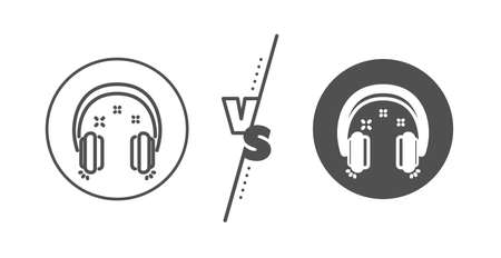 Music listen sign. Versus concept. Headphones line icon. Musical earphones symbol. Line vs classic headphones icon. Vector