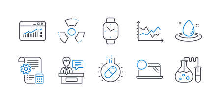 Set of Science icons, such as Fuel energy, Capsule pill, Exhibitors, Settings blueprint, Smartwatch, Diagram chart, Recovery laptop, Web traffic, Chemical hazard, Chemistry lab line icons. Vector