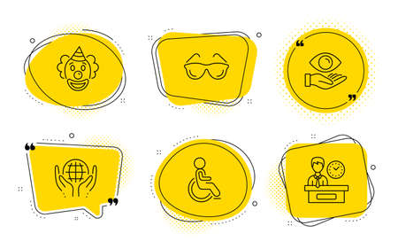 Organic tested, Disabled and Presentation time signs. Chat bubbles. Health eye, Eyeglasses and Clown line icons set. Optometry, Funny performance, Safe nature. Handicapped wheelchair. Vector