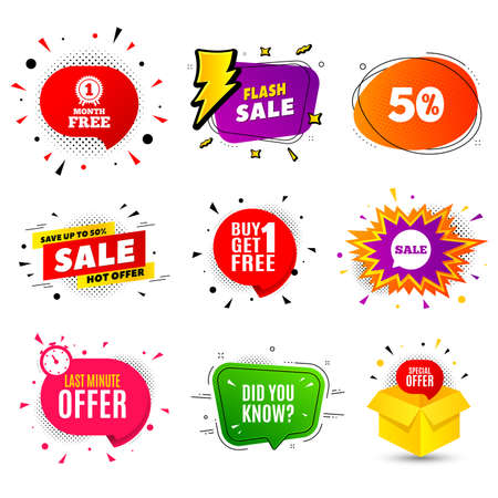 Did you know. Banner badge, flash sale bubble. Special offer question sign. Interesting facts symbol. Last minute offer. Sticker badge, comic bubble. Discounts box. Vector