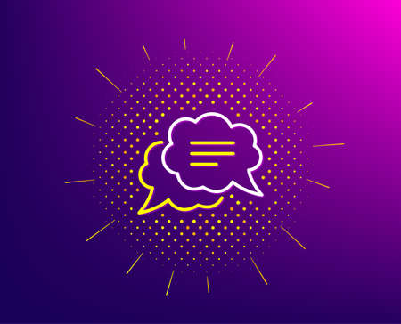 Text message line icon. Halftone pattern. Chat comment sign. Comic speech bubble symbol. Gradient background. Text message line icon. Yellow halftone pattern. Vector 向量圖像