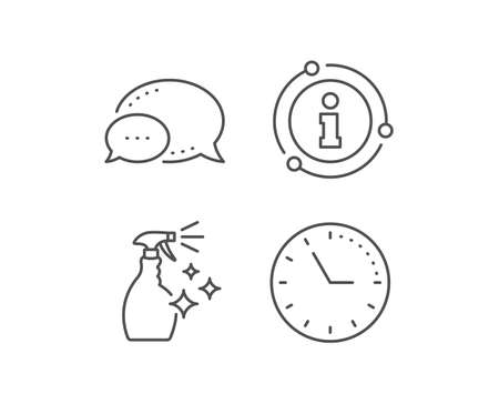 Cleaning spray line icon. Chat bubble, info sign elements. Washing liquid or Cleanser symbol. Housekeeping equipment sign. Linear washing Cleanser outline icon. Information bubble. Vector