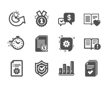 Set of Education icons, such as Payment received, Cogwheel, Timer, Handout, Financial documents, Facts, Confirmed, Graph chart, Technical documentation, Approved, Share idea, Love book. Vector