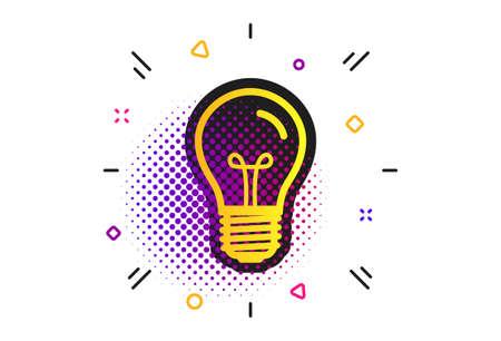 Light bulb icon. Halftone dots pattern. Lamp E27 screw socket symbol. Illumination sign. Classic flat e27 lamp icon. Vector Ilustração