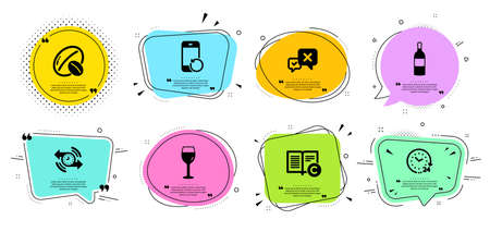 Recovery phone, Timer and Copyright line icons set. Chat bubbles with quotes. Wine bottle, 24 hours and Reject signs. Soy nut, Wine glass symbols. Backup smartphone, Stopwatch. Business set. Vector  イラスト・ベクター素材