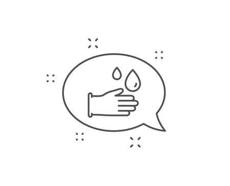 Cleaning rubber gloves line icon. Chat bubble design. Hygiene sign. Washing Housekeeping equipment sign. Outline concept. Thin line rubber gloves icon. Vector