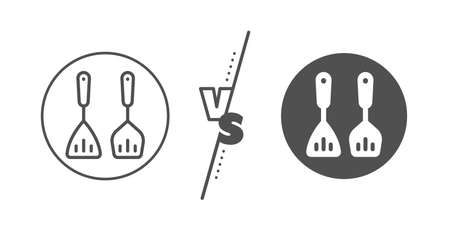 Kitchen accessories sign. Versus concept. Cooking cutlery line icon. Food preparation symbol. Line vs classic cooking cutlery icon. Vector Ilustração