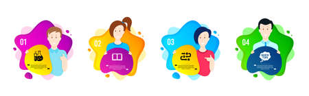Chemistry flask, Book and Survey progress icons simple set. People shapes timeline. Quick tips sign. Laboratory, E-learning course, Algorithm. Helpful tricks. Education set. Vector Иллюстрация