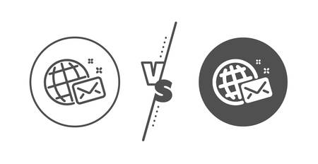Web letter sign. Versus concept. World mail line icon. Send message symbol. Line vs classic world mail icon. Vector