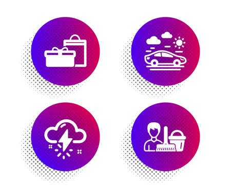 Gifts, Thunderstorm weather and Car travel icons simple set. Halftone dots button. Cleaning service sign. Birthday boxes, Thunder bolt, Transport. Bucket with mop. Business set. Vector