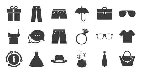 Conjunto de iconos de ropa, accesorios y gafas. Información, icono de burbuja de chat. Carteles de camisa, paraguas y sombrero. Símbolos de cartera, bolso y maletín. Conjunto de calidad. Vector Ilustración de vector
