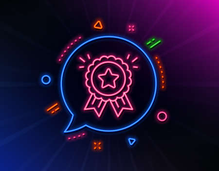 Loyalty award line icon. Neon laser lights. Bonus points. Discount program symbol. Glow laser speech bubble. Neon lights chat bubble. Banner badge with loyalty award icon. Vector