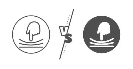 Resilience material sign. Versus concept. Elastic line icon. Line vs classic elastic icon. Vector  イラスト・ベクター素材