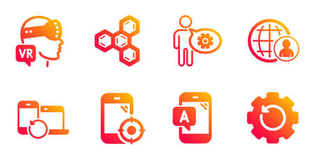 Recovery devices, Cogwheel and Ab testing line icons set. Chemical formula, Augmented reality and International recruitment signs. Seo phone, Recovery gear symbols. Vector
