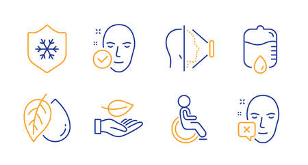 Disabled, Clean skin and Drop counter line icons set. Face id, Mineral oil and Leaf signs. Health skin, Face declined symbols. Handicapped wheelchair, Cold protect. Healthcare set. Vector