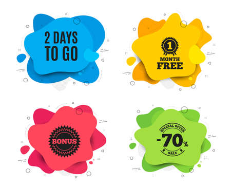 2 days to go. Liquid shape, various colors. Special offer price sign. Advertising discounts symbol. Geometric vector banner. 2 days to go text. Gradient shape badge. Vector