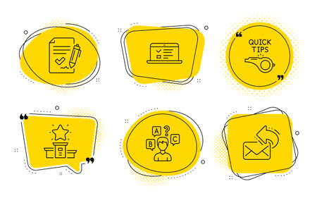 Approved agreement, Tutorials and Share mail signs. Chat bubbles. Web lectures, Winner podium and Quiz test line icons set. Online test, First place, Interview. Signature document. Vector