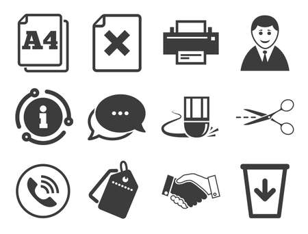 Printer, handshake and phone signs. Discount offer tag, chat, info icon. Office, documents and business icons. Boss, recycle bin and eraser symbols. Classic style signs set. Vector