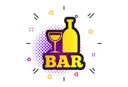 Bar or Pub sign icon. Halftone dots pattern. Wine bottle and Glass symbol. Alcohol drink symbol. Classic flat bar icon. Vector