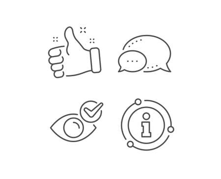 Check eye line icon. Chat bubble, info sign elements. Oculist clinic sign. Optometry vision symbol. Linear check eye outline icon. Information bubble. Vector Ilustracja