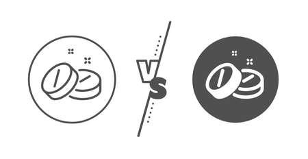 Medicine drugs sign. Versus concept. Medical tablet line icon. Pharmacy medication symbol. Line vs classic medical tablet icon. Vector