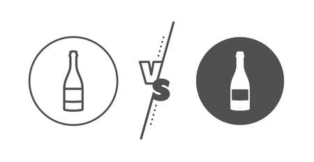 Anniversary alcohol sign. Versus concept. Champagne bottle line icon. Celebration event drink. Line vs classic champagne bottle icon. Vector