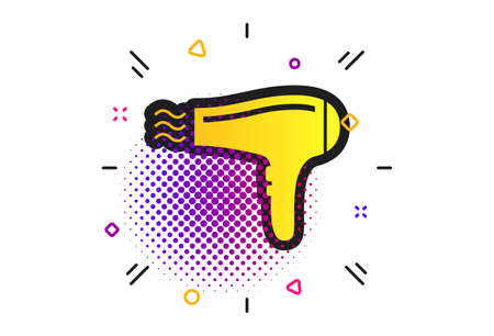 Hairdryer sign icon. Halftone dots pattern. Hair drying symbol. Blowing hot air. Turn on. Classic flat hairdryer icon. Vector
