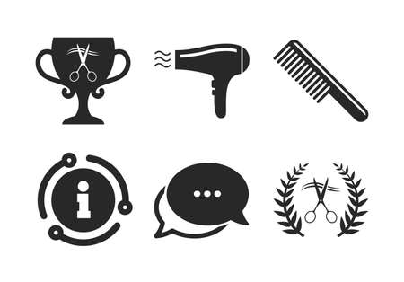 Scissors cut hair symbol. Chat, info sign. Hairdresser icons. Comb hair with hairdryer symbol. Barbershop laurel wreath winner award. Classic style speech bubble icon. Vector
