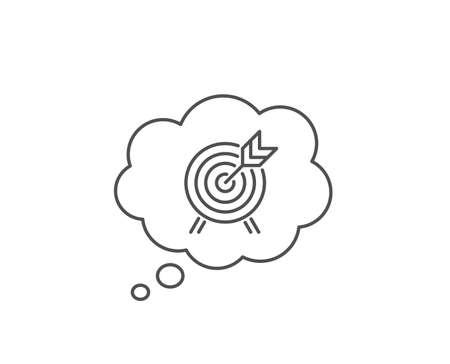 Archery line icon. Chat bubble design. Amusement park attraction sign. Outline concept. Thin line archery icon. Vector