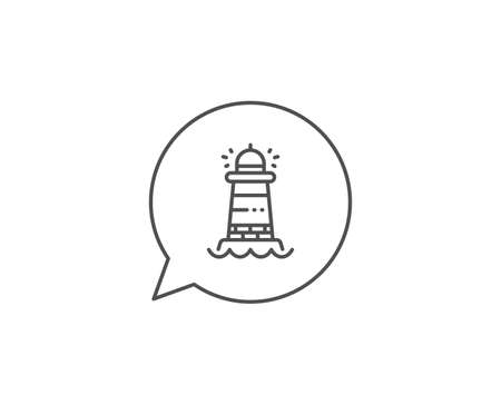 Lighthouse line icon. Chat bubble design. Searchlight tower sign. Beacon symbol. Outline concept. Thin line lighthouse icon. Vector Ilustração