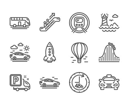 Set of Transportation icons, such as Bus tour, Car, Lighthouse, Metro subway, 48 hours, Taxi, Car travel, Rocket, Air balloon, Truck parking, Escalator, Roller coaster line icons. Vector