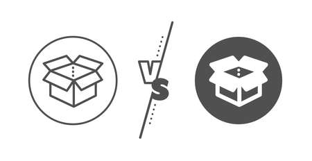 Delivery parcel sign. Versus concept. Open box line icon. Cargo package symbol. Line vs classic open box icon. Vector