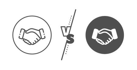 Hand gesture sign. Versus concept. Handshake line icon. Business deal palm symbol. Line vs classic handshake icon. Vector  イラスト・ベクター素材
